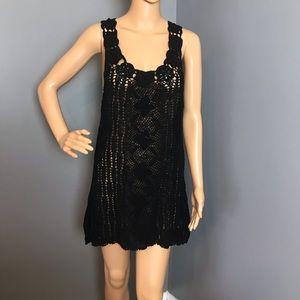 Ondademar Women's Sweater crocheted Dress M Black